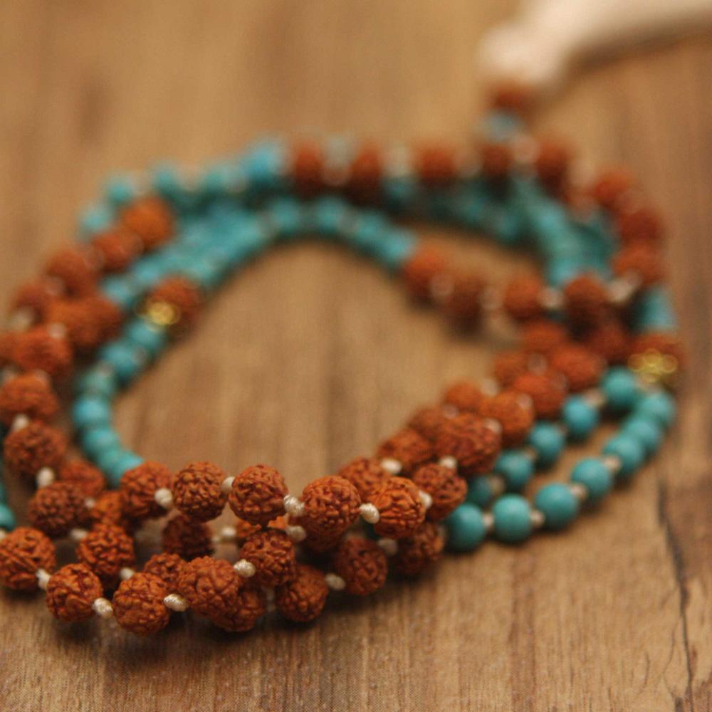 Rudraksha and Turquoise Mala