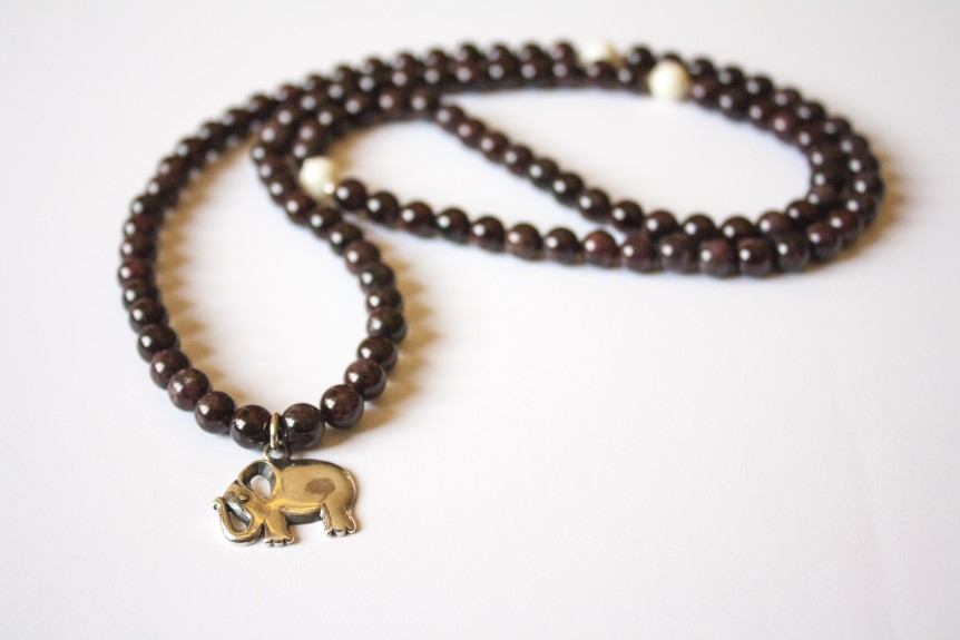 Garnet and Coral Mala with Elephant