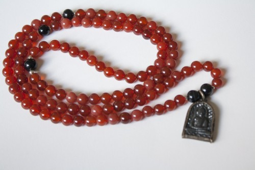 Carnelian Mala with Buddha Pendant