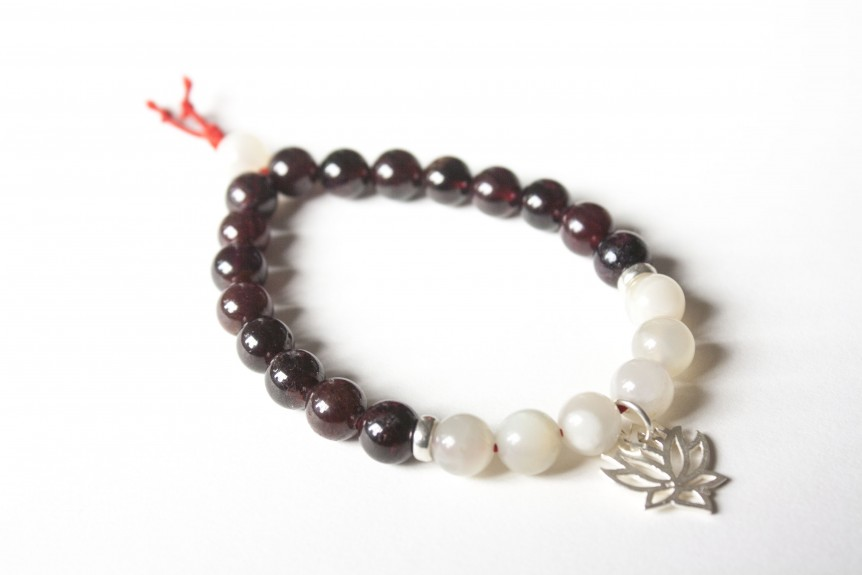 Garnet Bracelet with SIlver Lotus