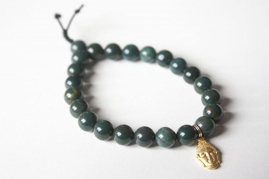Bloodstone Bracelet with Gold Buddha
