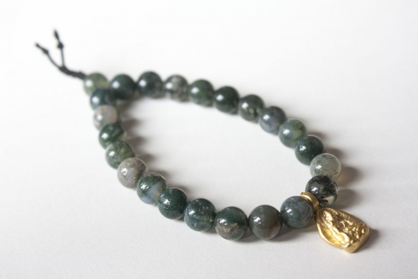 Agate Bracelet with Gold Buddha
