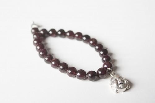 Garnet Bracelet with SIlver Buddha