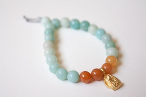 Amazonite Bracelet with Gold Buddha