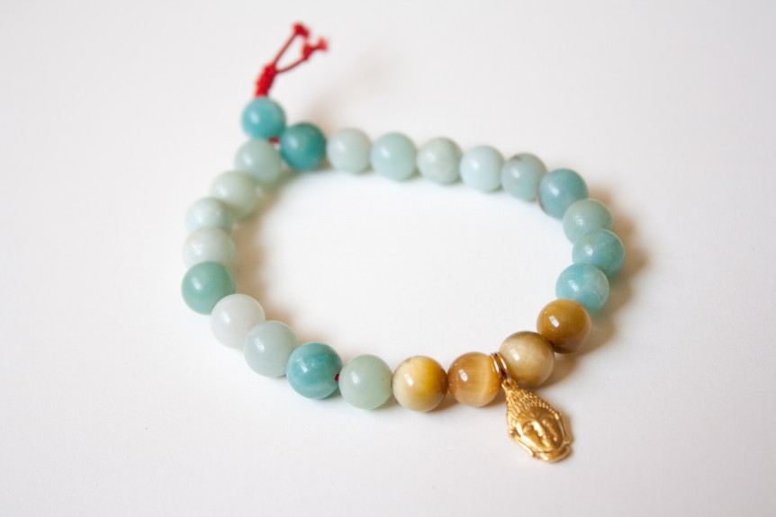 Amazonite Bracelet with Gold Buddha