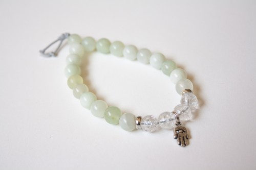 Sea Jade Bracelet with Hamsa