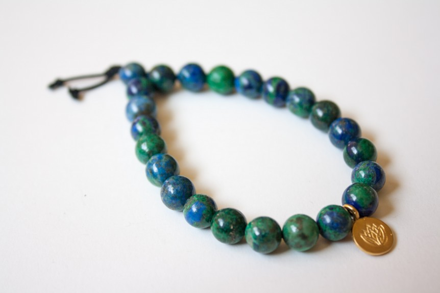 Azurite Bracelet with Gold Lotus