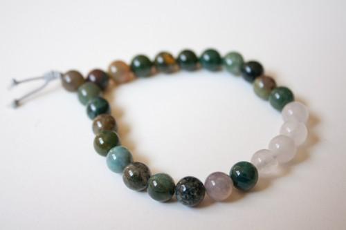 Moss Agate and Sea Jade Bracelet