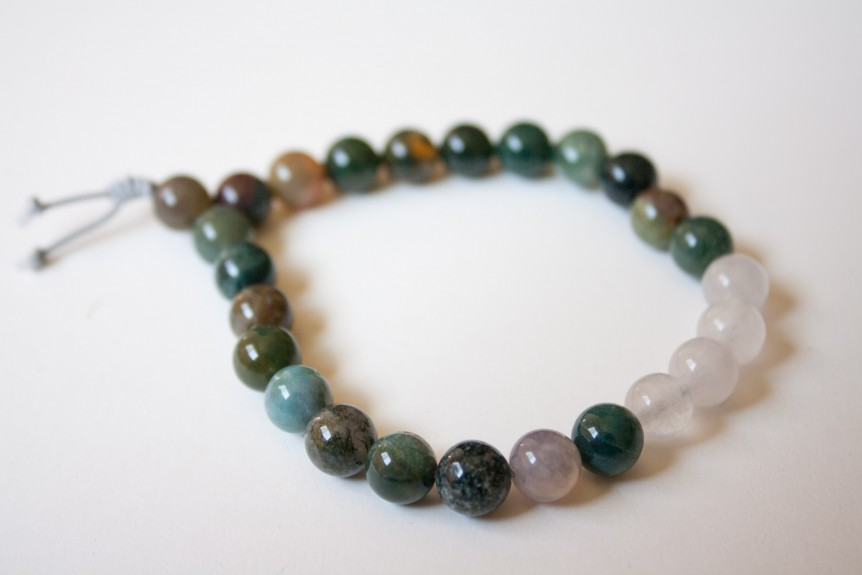 Moss Agate and Sea Jade Bracelet