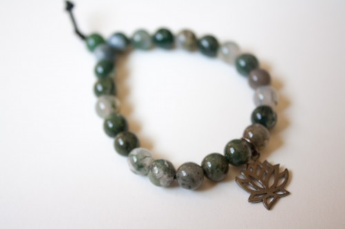 Agate Bracelet with Lotus Charm