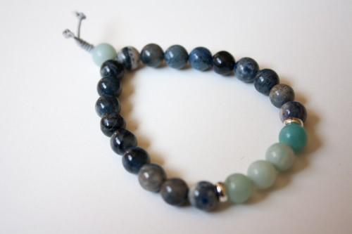 Dumortierite and Amazonite Bracelet