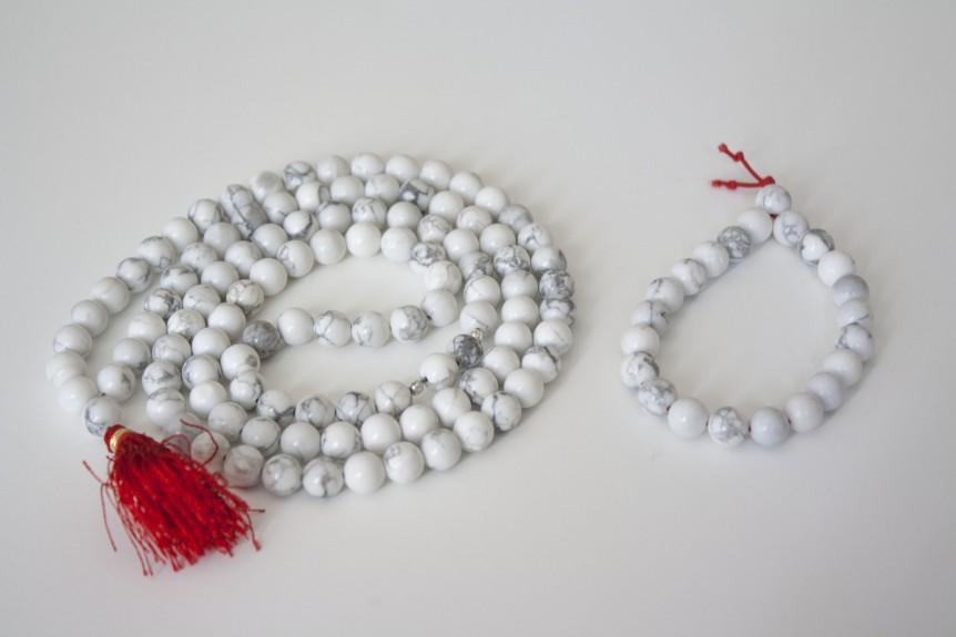 Howlite Mala and Bracelet